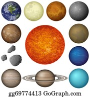 Solar-System - Solar System Planets And Moon, Set