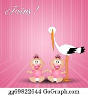 Stork - Stork With Twin Girls