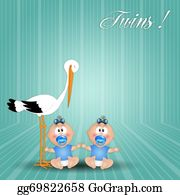 Stork - Stork With Twin Boys