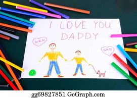 I-Love-You-Dad - Child's Drawing Daddy, I Love You Closeup