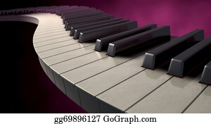 Music-Notes-On-Piano-Keyboard - Moody Curvy Piano Keys