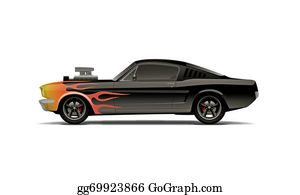 Muscle-Car - Castomized Muscle Car With Supercharger And Flames