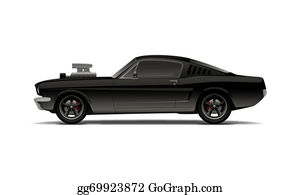 Muscle-Car - Black Muscle Car With Supercharger