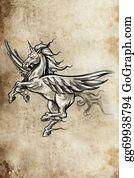 Beautiful-Unicorn - Tattoo Unicorn Sketch, Handmade Design Over Vintage Paper