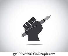 Fist - Protesting Human Hand Fist Holding A Fountain Pen Concept Icon. Black Colorful Hand Holding Pen In Protest Or Winning With Closed Fingers