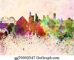Memphis - Memphis Skyline In Watercolor Background