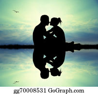 River - Couple Kissing On River