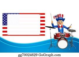 Drum-Set - Uncle Sam With Drum Set