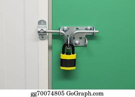 Self-Storage - Black And Yellow Padlock On Self Storage Unit