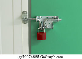 Self-Storage - Red Padlock On Self Storage Unit