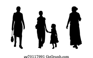 Little-Girls - Indian People Walking Silhouettes Set 4