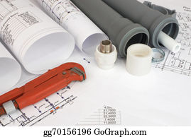 Plumbing - Plumbing Tools On The Construction Drawings