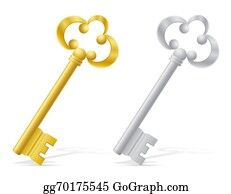 House-Alarm-Concept-Icon - Old Retro Keys Door Lock Illustration