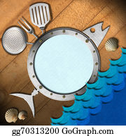 Utensils - Seafood Menu With Metal Porthole