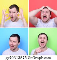 Rudeness - Collage Of Man With Different Facial Expressions Against Multicolored Backgrounds