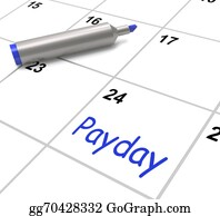 Employment - Payday Calendar Shows Salary Or Wages For Employment