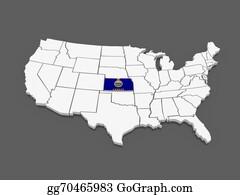 Map-Of-Kansas-Usa - Three-Dimensional Map Of Kansas. Usa.
