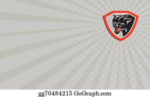 Growl - Black Cat Panther Head Shield Business Card