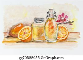 Pink-Lemonade - Oranges And  Glass Of Juice Still Life