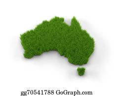 Australia - Australia Map Made Of Grass