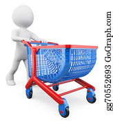Trolley - 3d White People. Shopping Trolley