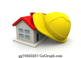 Helmet - House  With Safety Helmet