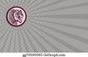 Growl - Business Card Tiger Head Growling Side Circle Retro