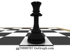 Queen - Black Queen On Chess Board