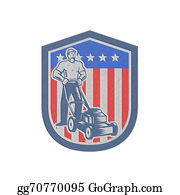 Lawn-Mower - Metallic Gardener Mowing Lawn Mower Flag Retro
