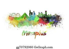 Memphis - Memphis Skyline In Watercolor