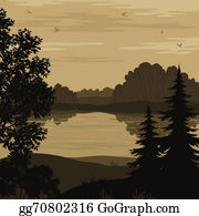 River - Landscape, Trees And River Silhouette