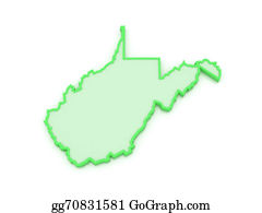 Map-Of-West-Virginia - Three-Dimensional Map Of West Virginia. Usa.