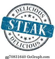 Butchers-Meat - Steak Blue Round Grungy Stamp Isolated On White Background