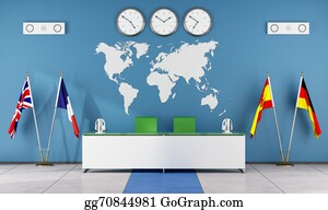Globe-Flags - Modern Classroom Of A Language School