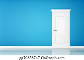 Wall-Background - Closed White Door On Blue Wall