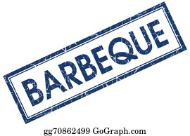 Butchers-Meat - Barbeque Blue Square Grungy Stamp Isolated On White Background