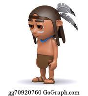 Apache - 3d Native American Indian Looks Sad