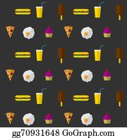 Dinner-Icons - Vector Background For Fast Food