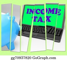 Income-Tax - Income Tax Piggy Bank Means Taxation On Earnings