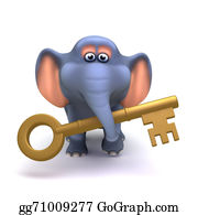 Trunk - 3d Elephant With Gold Key