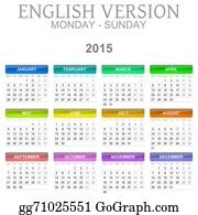 Months-Of-The-Year - 2015 Calendar English Language Version Mon ? Sun