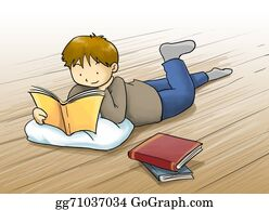 Boy-Reading - Kid Reading A Book Cartoon Illustration.kid, A Boy Reading A Book Lying On The Floor. Cartoon Illustration With Beautiful Color