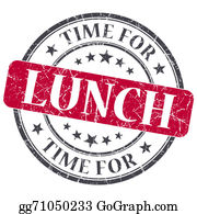 Lunch - Time For Lunch Red Grunge Textured Vintage Isolated Stamp
