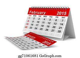 February - 2015 Year Calendar. February. Isolated 3d Image