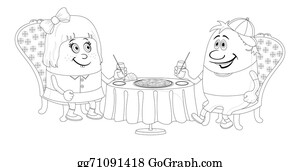 Babies-And-Toddlers-Silhouettes - Children Near Table, Isolated, Contour
