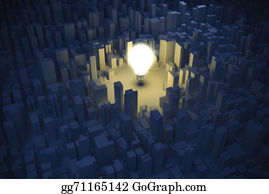 Economy - 3d Image Of Light Bulb And City, Green Economy Concept
