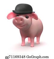 Bowler-Hat - 3d Baby Piglet Businessman