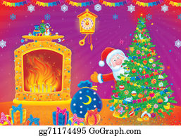 Grandfather-Clock - Santa Claus And Christmas Tree