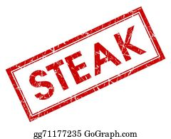 Butchers-Meat - Steak Red Square Grungy Stamp Isolated On White Background