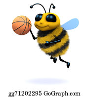 Bee-Hive - 3d Honey Bee Playing Basketball